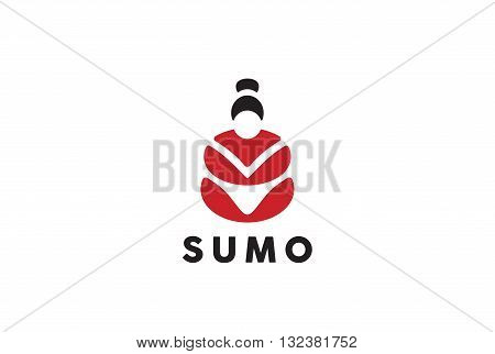 Sumo wrestler Logo design Japanese cuisine sushi roll vector