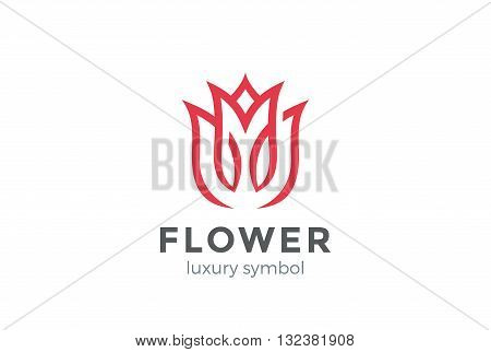 Luxury Fashion Flower Logo abstract Looped Tulip Rose Logotype