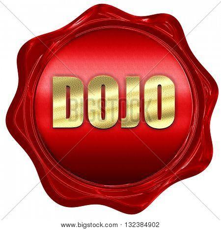 Dojo, 3D rendering, a red wax seal