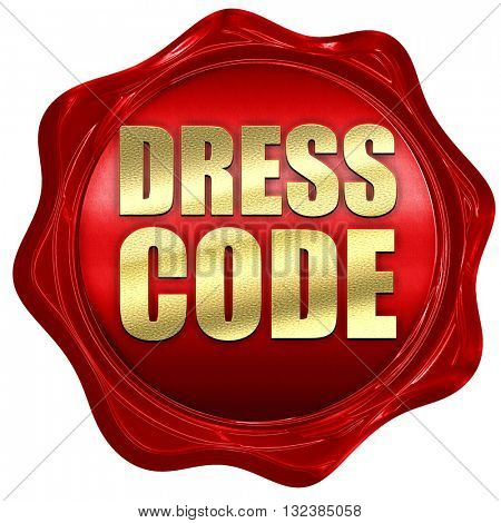 dress code, 3D rendering, a red wax seal