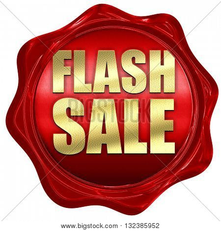 flash sale, 3D rendering, a red wax seal