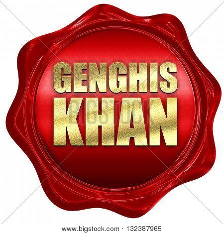 genghis khan, 3D rendering, a red wax seal