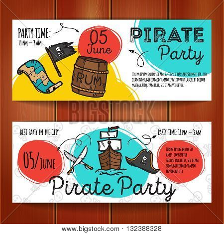 Vector set of pirate party flyers. Colorful doodle style party banners templates. Pirate cards.