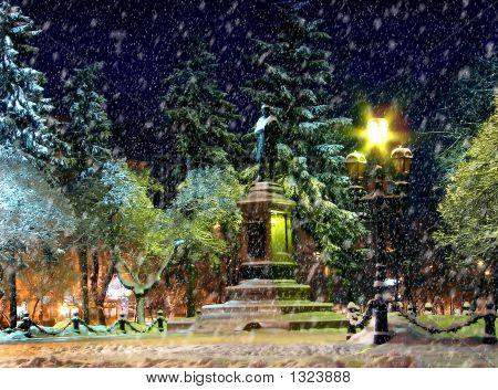 Winter Night Light And Snow