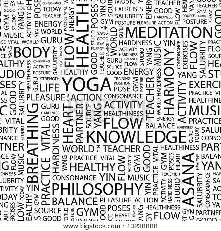 YOGA. Seamless vector background. Illustration with different association terms.