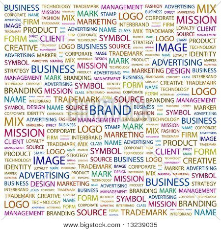 BRAND. Word collage on white background. Vector illustration.