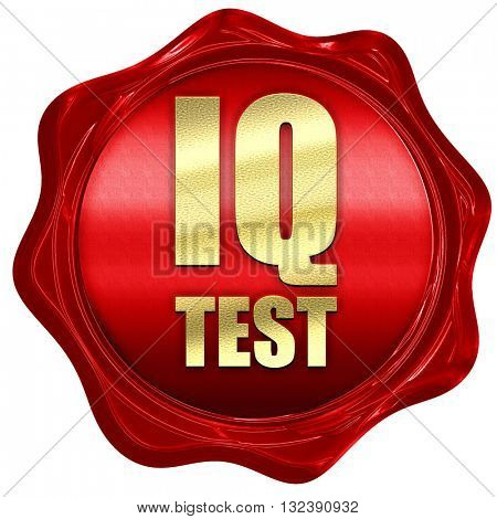 iq test, 3D rendering, a red wax seal