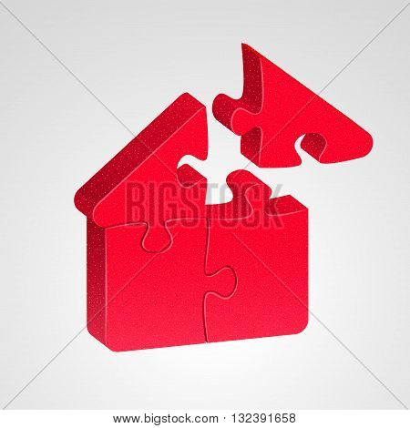 House icon combined from red puzzles on light background. House building concept