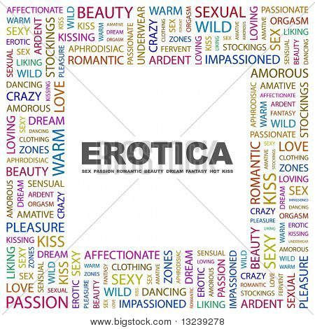 EROTICA. Word collage on white background. Illustration with different association terms.