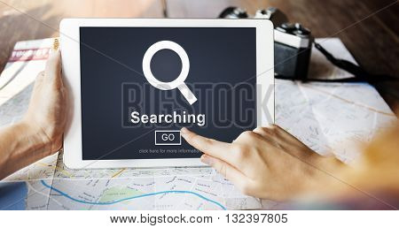 Searching Magnify Browsing Search Engine Optimization Concept