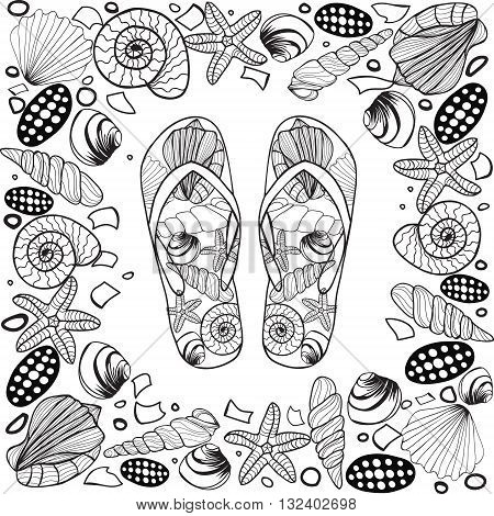 Hand Drawn Seashell Border Frame With Flip Flop Vector Illustration Beach Concept Coloring Book Page