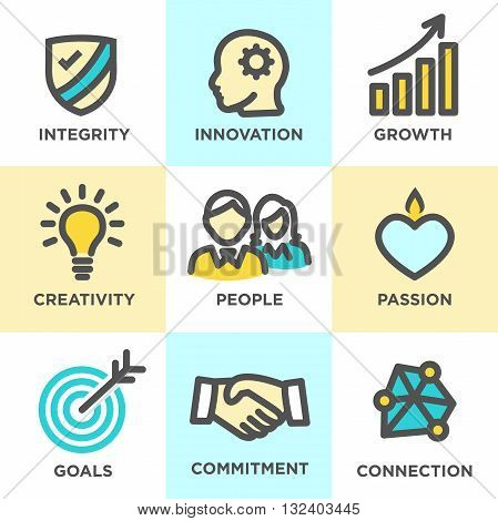 Core Values Outline Icons Yellow Blue