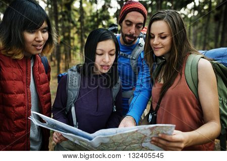 Camping Friendship Backpacker Map Direction Concept