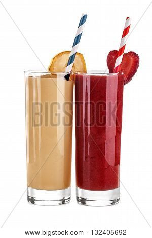 Smoothie banana and strawberry juice isolated on a white background