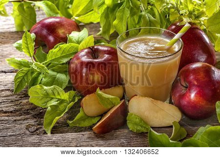 freshly squeezed juice made from organic and healthy apples