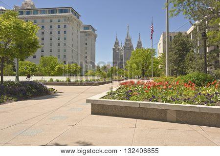 Temple square in Salt lake city Utah at mid-day.