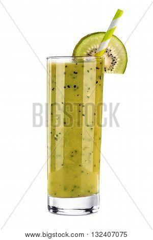 Smoothie kiwi juice isolated on a white background