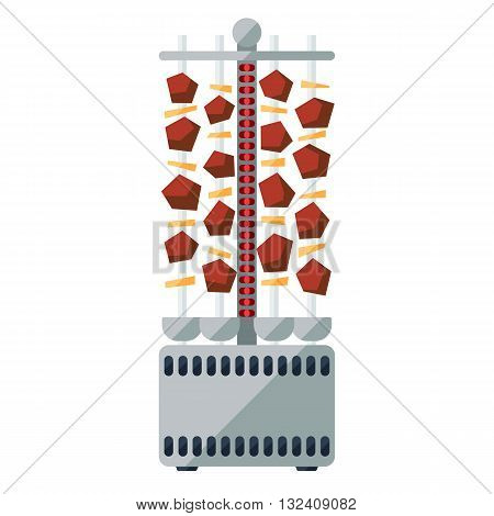Shashlik electric cooker flat icon. Portable vertical kebab for home. poster