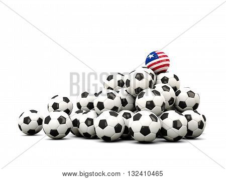 Pile Of Soccer Balls With Flag Of Liberia