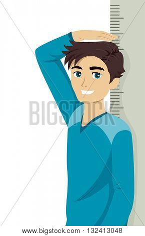 Illustration of a Teenage Boy Measuring His Height