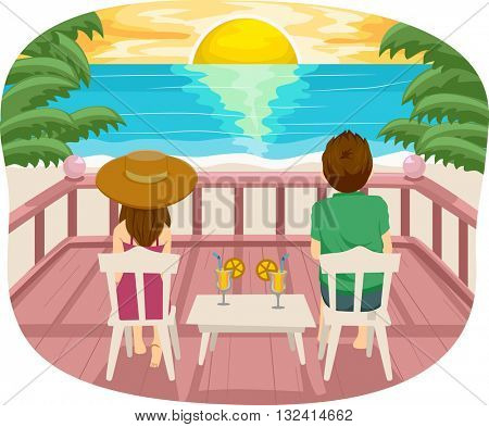Illustration of a Teenage Couple Having a Romantic Date by the Beach