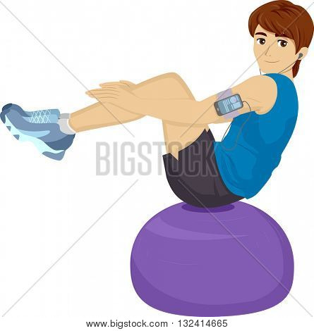 Illustration of a Teenage Boy Using a Balance Ball to Work Out