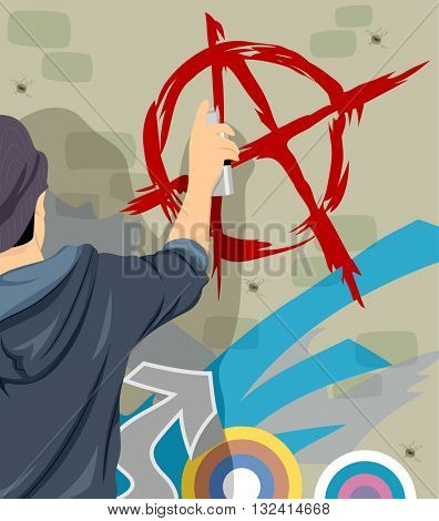 Illustration of a Teenage Boy Drawing the Anarchy Symbol
