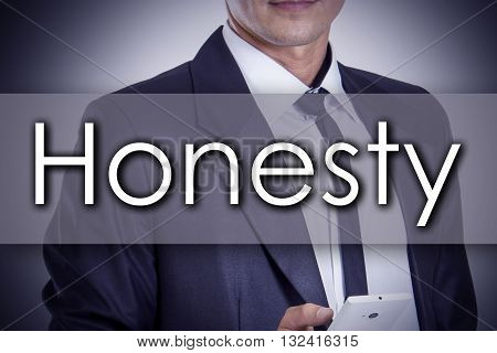 Honesty - Young Businessman With Text - Business Concept