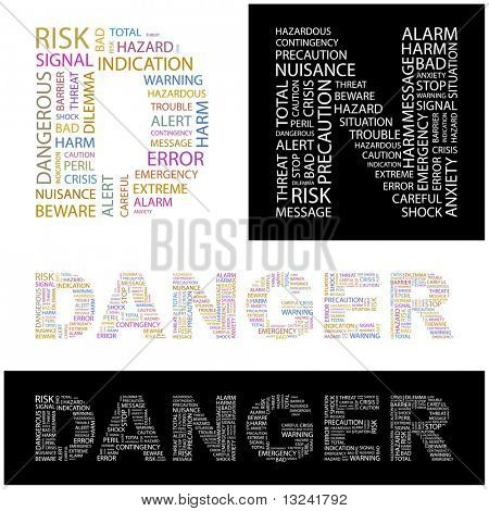DANGER. Word collage. Illustration with different association terms.