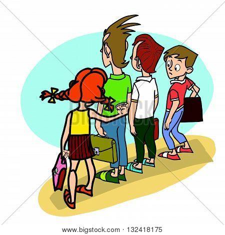 Children at school threat school life line art caricature