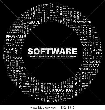 SOFTWARE. Word collage on black background. Illustration with different association terms.