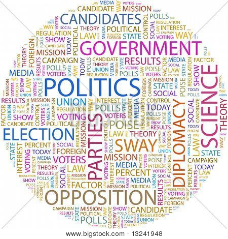 poster of POLITICS. Word collage on white background. Illustration with different association terms.