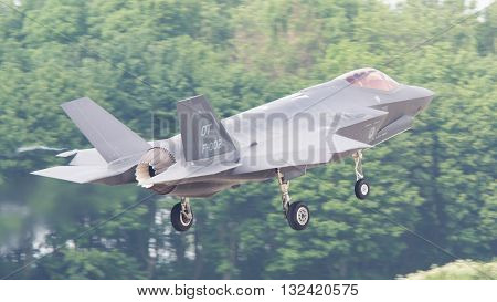 LEEUWARDEN THE NETHERLANDS -MAY 26: F-35 fighter during it's first test in Europe on May 26 2016 in Leeuwarden. It is the world's most advanced multi-role fighter.