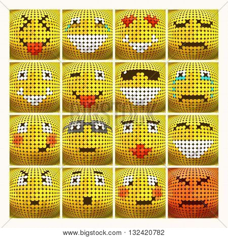 3D Emoticon set. Emotional face icon. Yellow emoticon. Vector dotted smiley face. Conceptual illustration on the theme of emotions. Emoticon isolated.