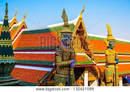 Giant Buddha.the Sculpture On The Background Of The Temple.wat Pra Kaew, Grand Palace Bangkok, Thail