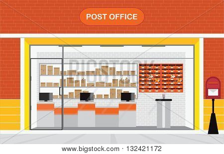 Modern exterior and interior of post office Building with counter service and post box front store vector illustration.