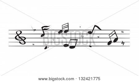 Black song notes floating on five lines isolated on white background