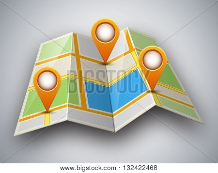 Abstract street map icon with map pointer and shadow isolated on light grey background. Mapping points on city map map pointers mark place signs