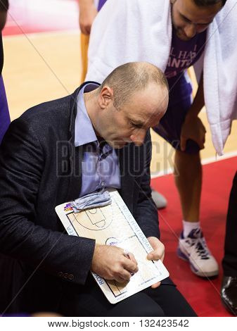 Bc Royal Hali Gaziantep Head Coach Aziz Bekir During A Timeout