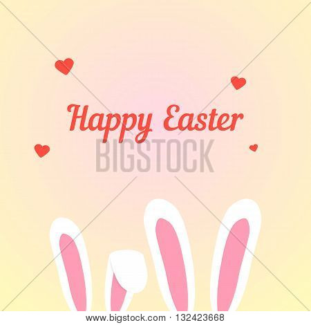 happy easter with love rabbits. concept of catholic feast, merriment, love affair, romance, relationship, happiness. isolated on cream background. flat style trendy modern design vector illustration