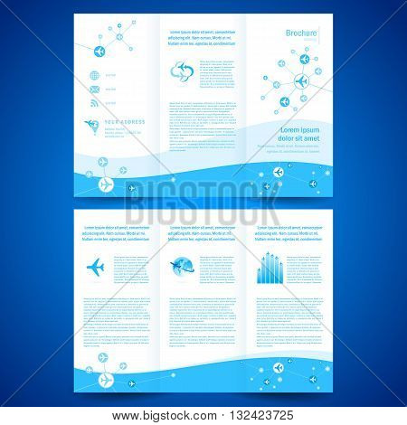 brochure folder leaflet airplane airline flight transportation line connection