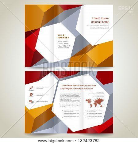 dimensional 3d background brochure design template folder leaflet green element