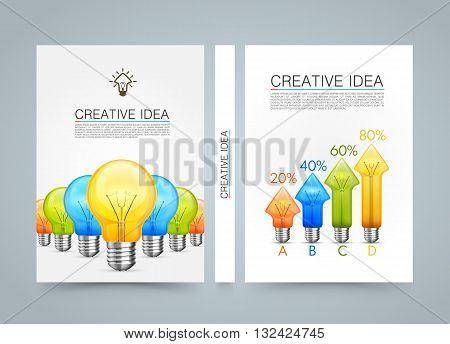 Creative idea banner info, Idea lamp arrow up, A4 size paper