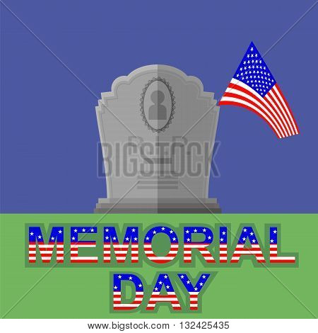 Flag of America Flying over Gravestone. Memorial Day Celebration Poster. Memorial Day American Flag. Memorial Day at the Cemetery.