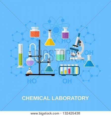 The chemical background, banner, cover. Science, education, chemistry, experiment and oratory concept. vector illustration in flat design