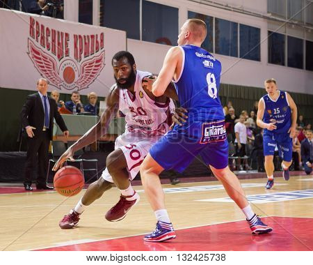 Bc Krasnye Krylia Forward Julian Wright (30) Drives To The Basket
