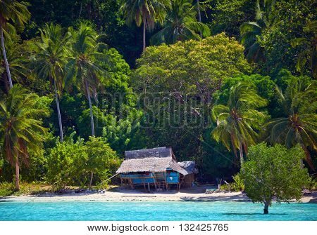 House of Robinson Crusoe. Beautiful island with blue bay and palm trees