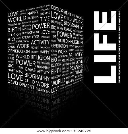 LEBEN. Wort-Collage auf schwarzem Hintergrund. Abbildung mit verschiedenen Verband Bedingungen.