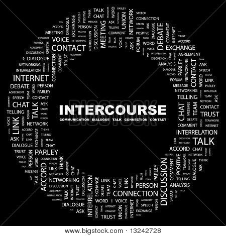 INTERCOURSE. Word collage on black background. Illustration with different association terms.