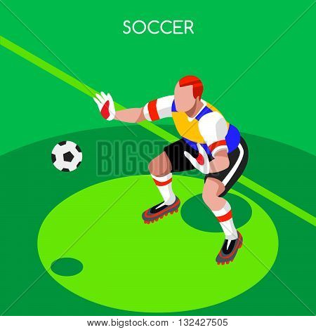 Soccer Goalkeeper Player Athlete Summer Games Icon Set.3D Isometric Field Soccer Match and Players.Sporting International Competition Championship.Sport Soccer Infographic Football Vector Illustration